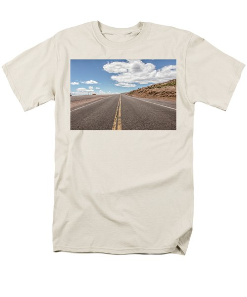 Men's T-Shirt  (Regular Fit) featuring the photograph The Road Up Pikes Peak At Around 12,000 Feet by Peter Ciro
