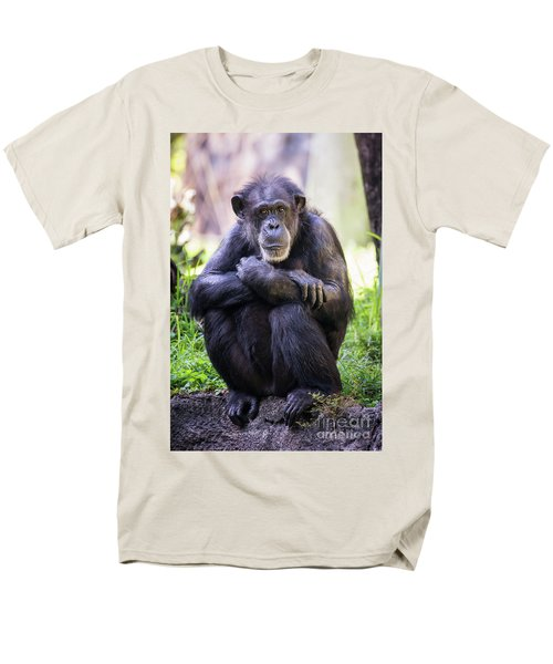 Thoughtful Chimpanzee  Men's T-Shirt  (Regular Fit) by Stephanie Hayes