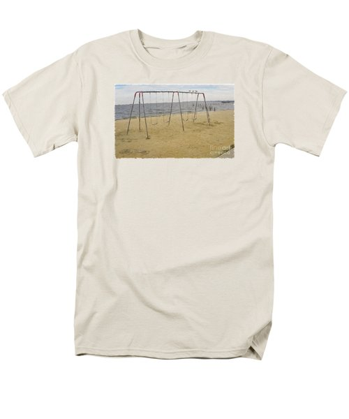 Men's T-Shirt  (Regular Fit) featuring the photograph Three Gulls And A Swing Set by Melissa Messick
