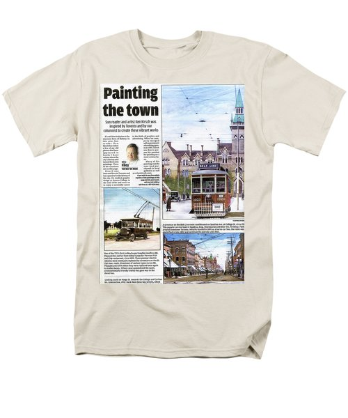 Men's T-Shirt  (Regular Fit) featuring the painting Toronto Sun Article Painting The Town by Kenneth M Kirsch
