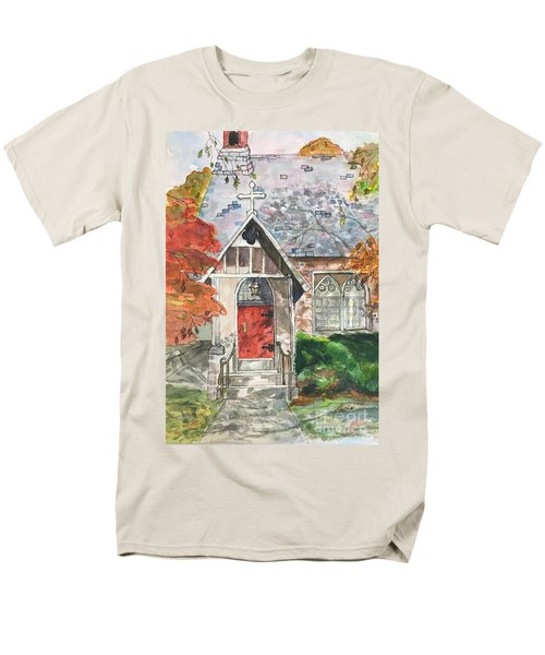 Men's T-Shirt  (Regular Fit) featuring the painting Urban  Church Sketching by Lucia Grilletto