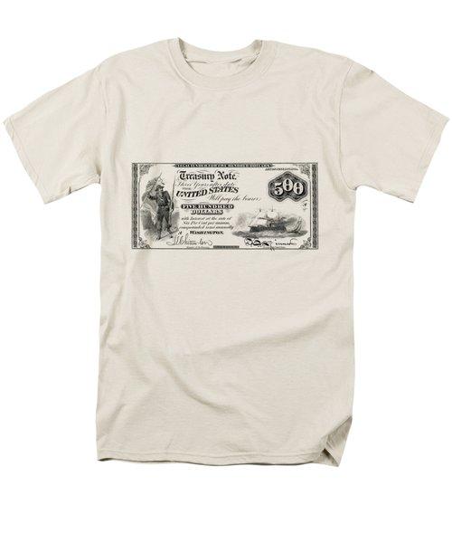 Men's T-Shirt  (Regular Fit) featuring the digital art U.s. Five Hundred Dollar Bill - 1864 $500 Usd Treasury Note  by Serge Averbukh