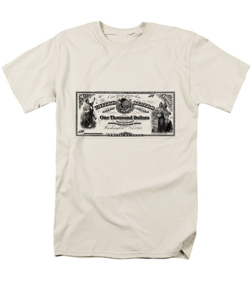 Men's T-Shirt  (Regular Fit) featuring the digital art U.s. One Thousand Dollar Bill - 1863 $1000 Usd Treasury Note by Serge Averbukh