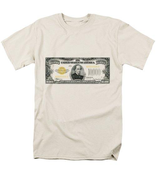 Men's T-Shirt  (Regular Fit) featuring the digital art U.s. Ten Thousand Dollar Bill - 1934 $10000 Usd Treasury Note by Serge Averbukh
