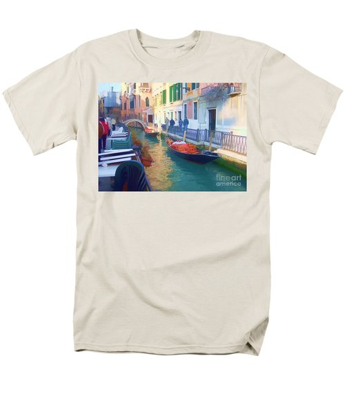 Men's T-Shirt  (Regular Fit) featuring the photograph Venice Sidewalk Cafe by Roberta Byram