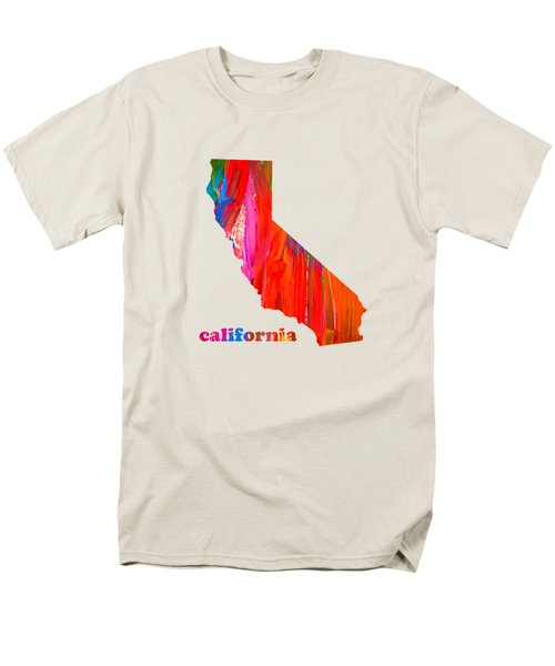 Vibrant Colorful California State Map Painting Men's T-Shirt  (Regular Fit) by Design Turnpike