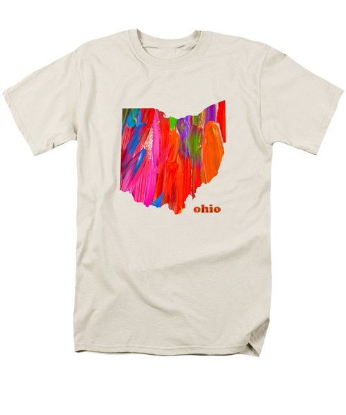 Vibrant Colorful Ohio State Map Painting Men's T-Shirt  (Regular Fit) by Design Turnpike
