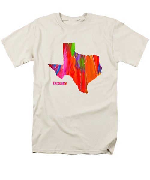 Vibrant Colorful Texas State Map Painting Men's T-Shirt  (Regular Fit) by Design Turnpike