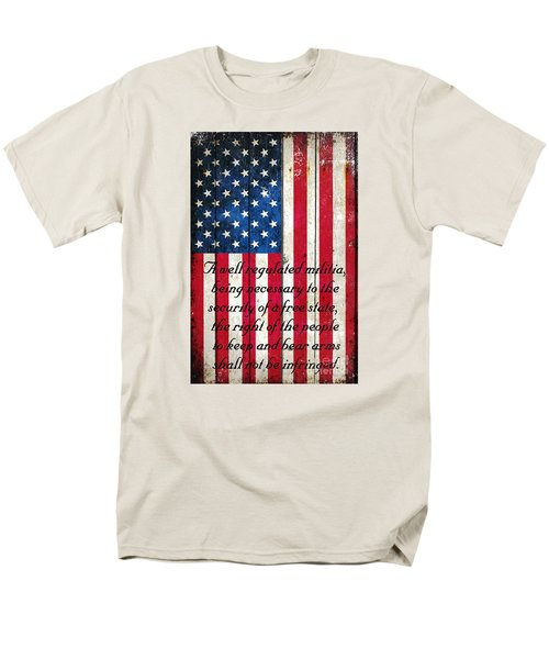 Vintage American Flag And 2nd Amendment On Old Wood Planks Men's T-Shirt  (Regular Fit) by M L C
