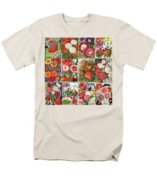 Vintage Childs Nursery Flower Seed Packets Mosaic  Men's T-Shirt  (Regular Fit) by Peggy Collins