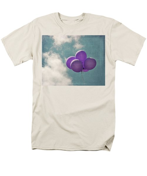 Vintage Inspired Purple Balloons In Blue Sky Men's T-Shirt  (Regular Fit) by Brooke T Ryan