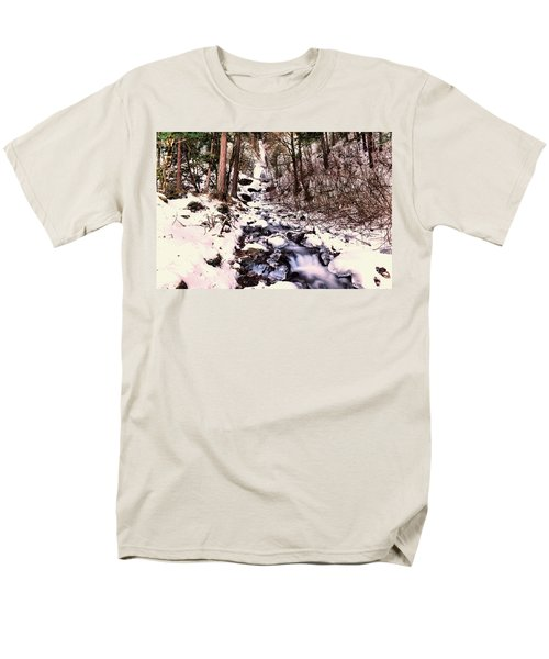 Men's T-Shirt  (Regular Fit) featuring the photograph Wahkeena Falls In Ice by Jeff Swan