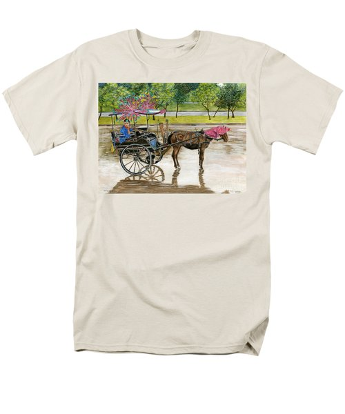 Men's T-Shirt  (Regular Fit) featuring the painting Waiting For Rider Jakarta Indonesia by Melly Terpening