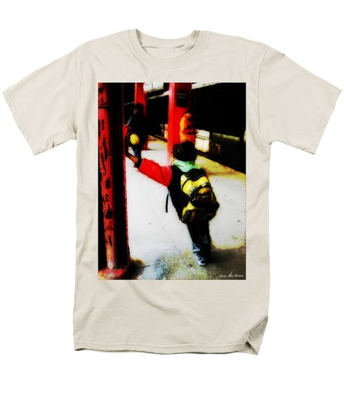 Men's T-Shirt  (Regular Fit) featuring the photograph Waiting On The Q Train In Flatbush by Iowan Stone-Flowers