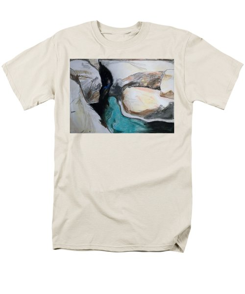 Men's T-Shirt  (Regular Fit) featuring the painting Water Between The Rocks by Esther Newman-Cohen