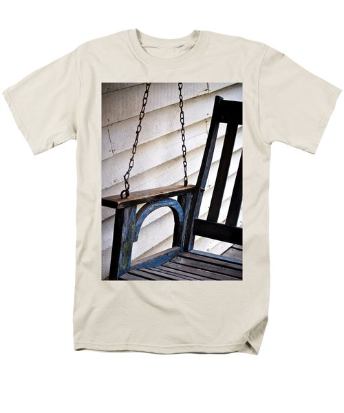 Men's T-Shirt  (Regular Fit) featuring the photograph Weathered Porch Swing by Debbie Karnes