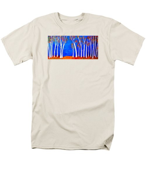 Men's T-Shirt  (Regular Fit) featuring the painting Whimsical Birch Trees by Haleh Mahbod