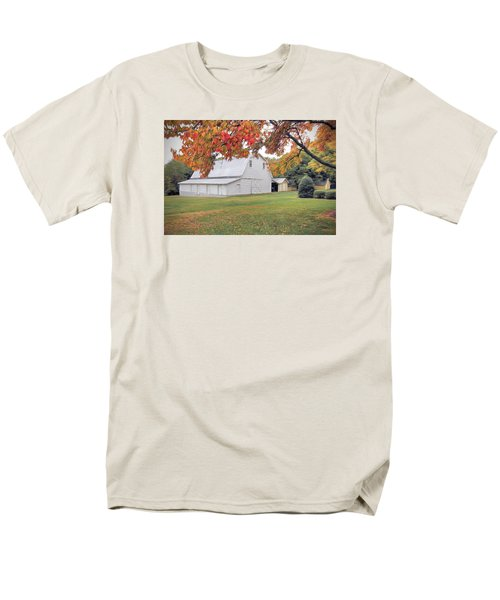 Men's T-Shirt  (Regular Fit) featuring the photograph White Barn In Autumn by Marion Johnson