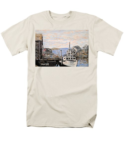 Men's T-Shirt  (Regular Fit) featuring the painting White Boat In Peggys Cove Nova Scotia by Ian  MacDonald