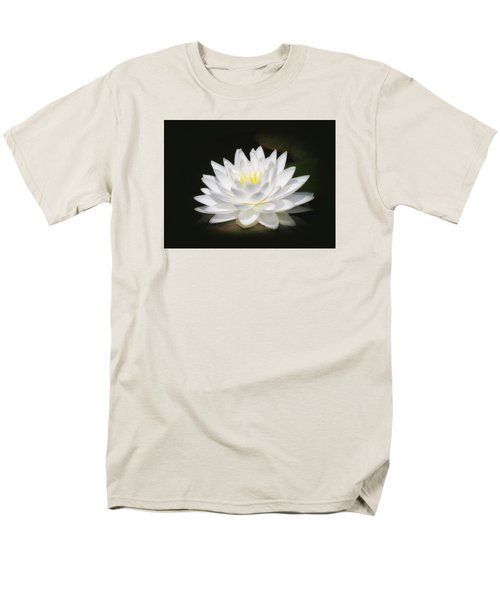 White Petals Glow - Water Lily Men's T-Shirt  (Regular Fit) by MTBobbins Photography