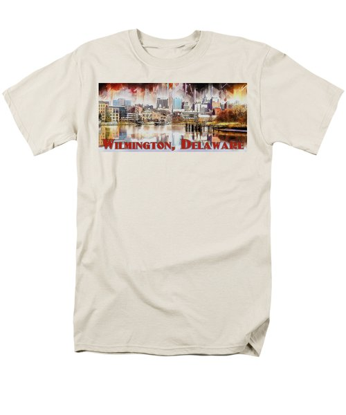 Men's T-Shirt  (Regular Fit) featuring the painting Wilmington City Lights by Kai Saarto
