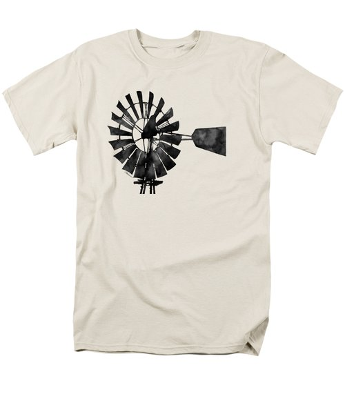 Men's T-Shirt  (Regular Fit) featuring the painting Windmill In Black And White by Hailey E Herrera