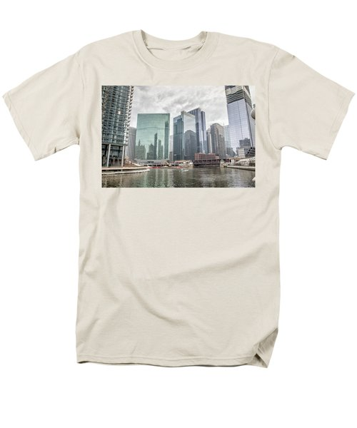 Men's T-Shirt  (Regular Fit) featuring the photograph Wolf Point Where The Chicago River Splits by Peter Ciro