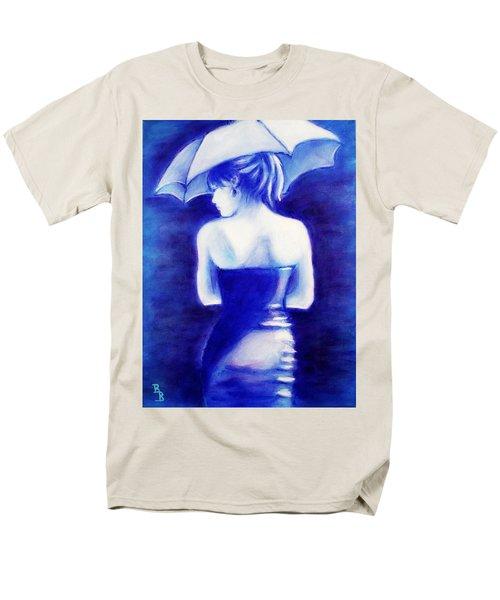 Woman With An Umbrella Blue Men's T-Shirt  (Regular Fit)