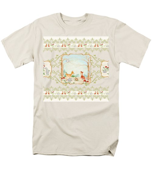 Men's T-Shirt  (Regular Fit) featuring the painting Woodland Fairy Tale - Blush Pink Forest Gathering Of Woodland Animals by Audrey Jeanne Roberts