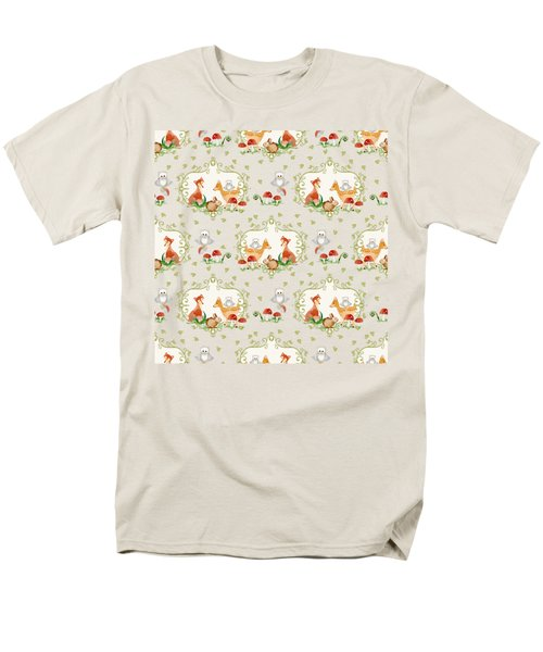 Men's T-Shirt  (Regular Fit) featuring the painting Woodland Fairy Tale -  Warm Grey Sweet Animals Fox Deer Rabbit Owl - Half Drop Repeat by Audrey Jeanne Roberts