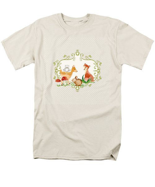 Men's T-Shirt  (Regular Fit) featuring the painting Woodland Fairytale - Grey Animals Deer Owl Fox Bunny N Mushrooms by Audrey Jeanne Roberts