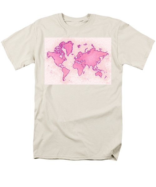 World Map Airy In Pink And White Men's T-Shirt  (Regular Fit) by Eleven Corners