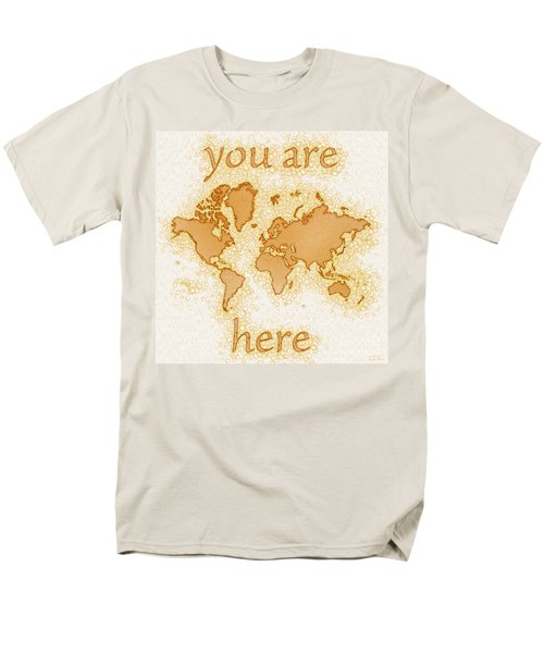 World Map Airy You Are Here In Brown And White  Men's T-Shirt  (Regular Fit) by Eleven Corners