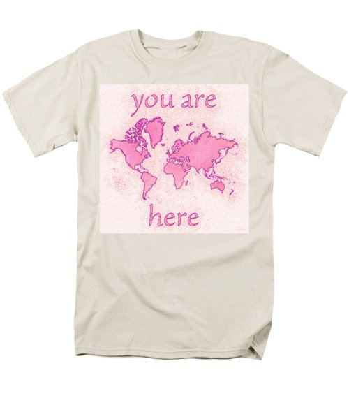 World Map Airy You Are Here In Pink And White Men's T-Shirt  (Regular Fit) by Eleven Corners