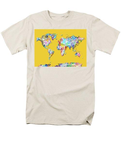 Men's T-Shirt  (Regular Fit) featuring the digital art World Map Music 13 by Bekim Art