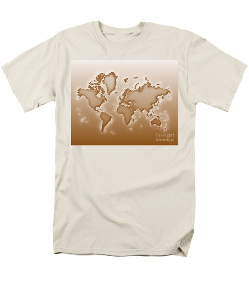 World Map Opala In Brown And White Men's T-Shirt  (Regular Fit) by Eleven Corners
