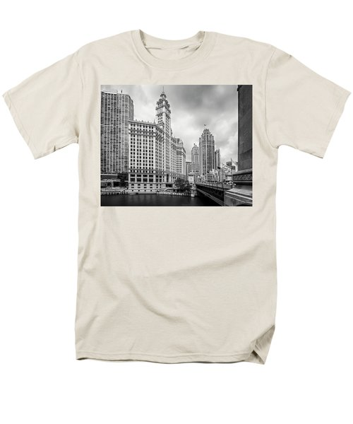 Men's T-Shirt  (Regular Fit) featuring the photograph Wrigley Building Chicago by Adam Romanowicz