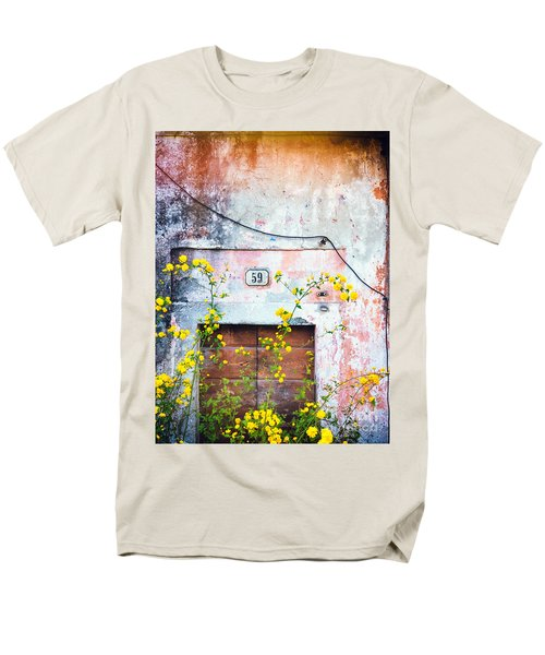 Men's T-Shirt  (Regular Fit) featuring the photograph Yellow Flowers And Decayed Wall by Silvia Ganora