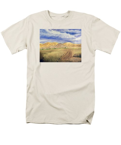 Men's T-Shirt  (Regular Fit) featuring the painting Yellow Hills Of Jensen by Sherril Porter
