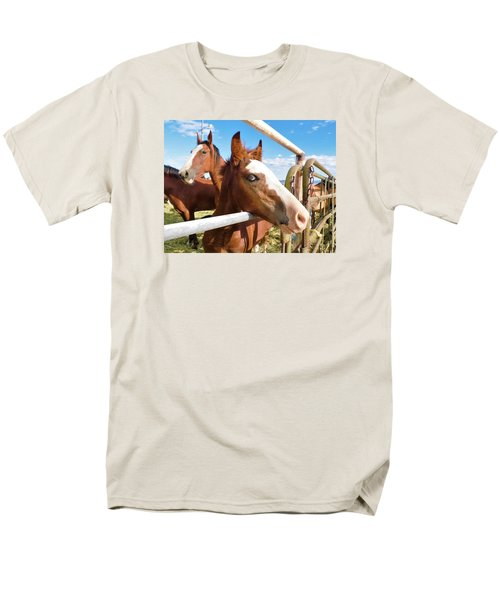 Men's T-Shirt  (Regular Fit) featuring the photograph Young Blue Eyed Horse by Deborah Moen