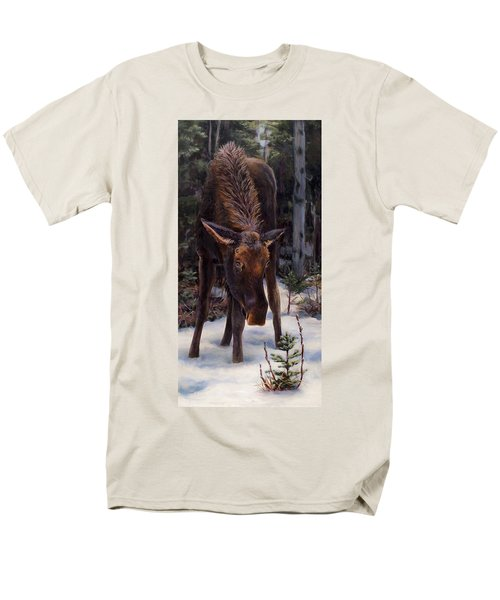 Men's T-Shirt  (Regular Fit) featuring the painting Young Moose And Pussy Willows Springtime In Alaska Wildlife Painting by Karen Whitworth