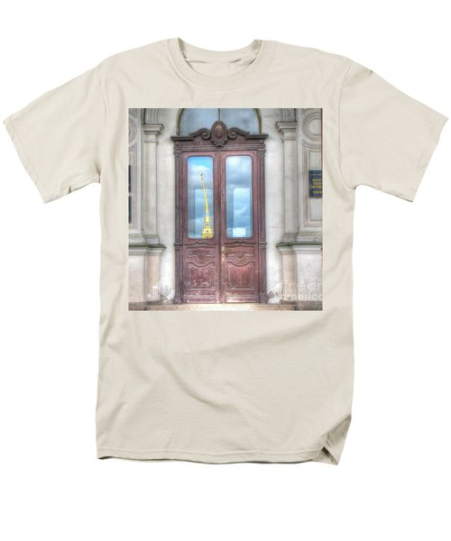 Men's T-Shirt  (Regular Fit) featuring the pyrography Yury Bashkin Old Door by Yury Bashkin