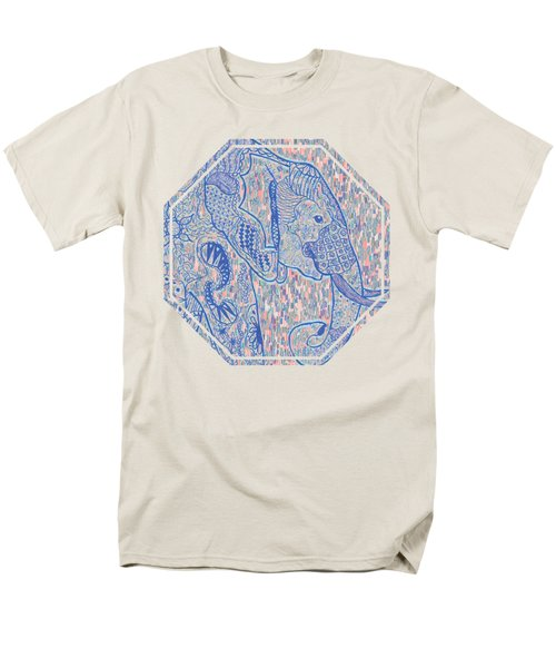 Zentangle Elephant-oil Men's T-Shirt  (Regular Fit) by Becky Herrera