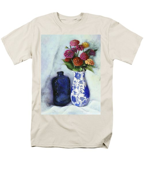 Zinnias With Blue Bottle Men's T-Shirt  (Regular Fit) by Marlene Book