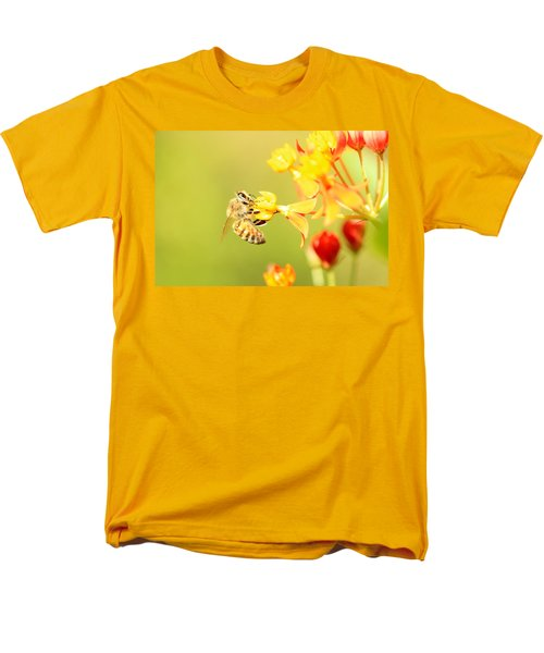 Men's T-Shirt  (Regular Fit) featuring the photograph  Bee On Milkweed by Greg Allore