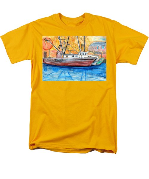 Men's T-Shirt  (Regular Fit) featuring the drawing Fishing Trawler by Eric  Schiabor