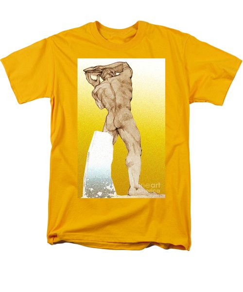 Men's T-Shirt  (Regular Fit) featuring the drawing Olympic Athletics Discus Throw by Greta Corens