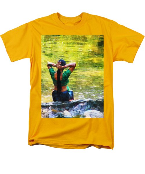 After The River Bathing. Indian Woman. Impressionism Men's T-Shirt  (Regular Fit) by Jenny Rainbow