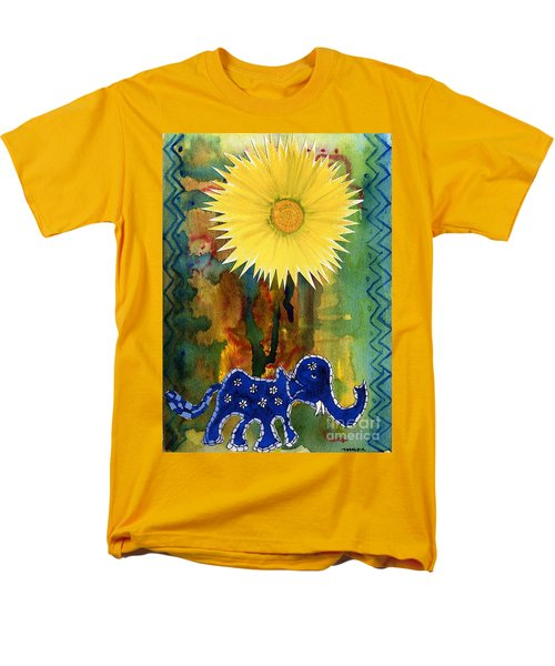 Men's T-Shirt  (Regular Fit) featuring the painting Blue Elephant In The Rainforest by Mukta Gupta