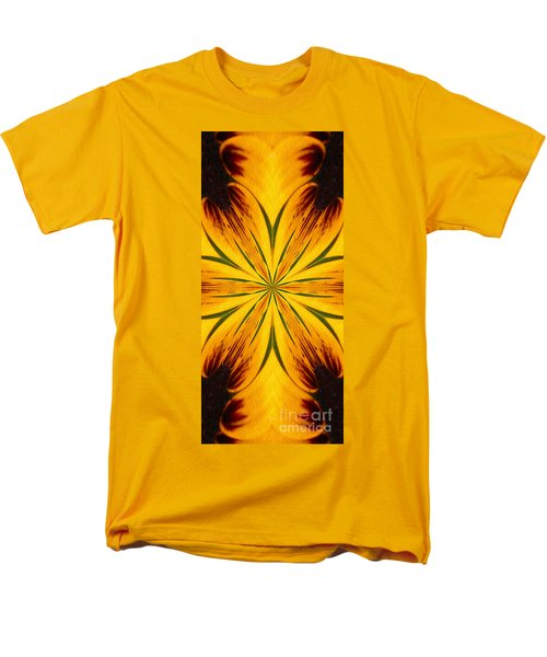 Brown And Yellow Abstract Shapes Men's T-Shirt  (Regular Fit) by Smilin Eyes  Treasures